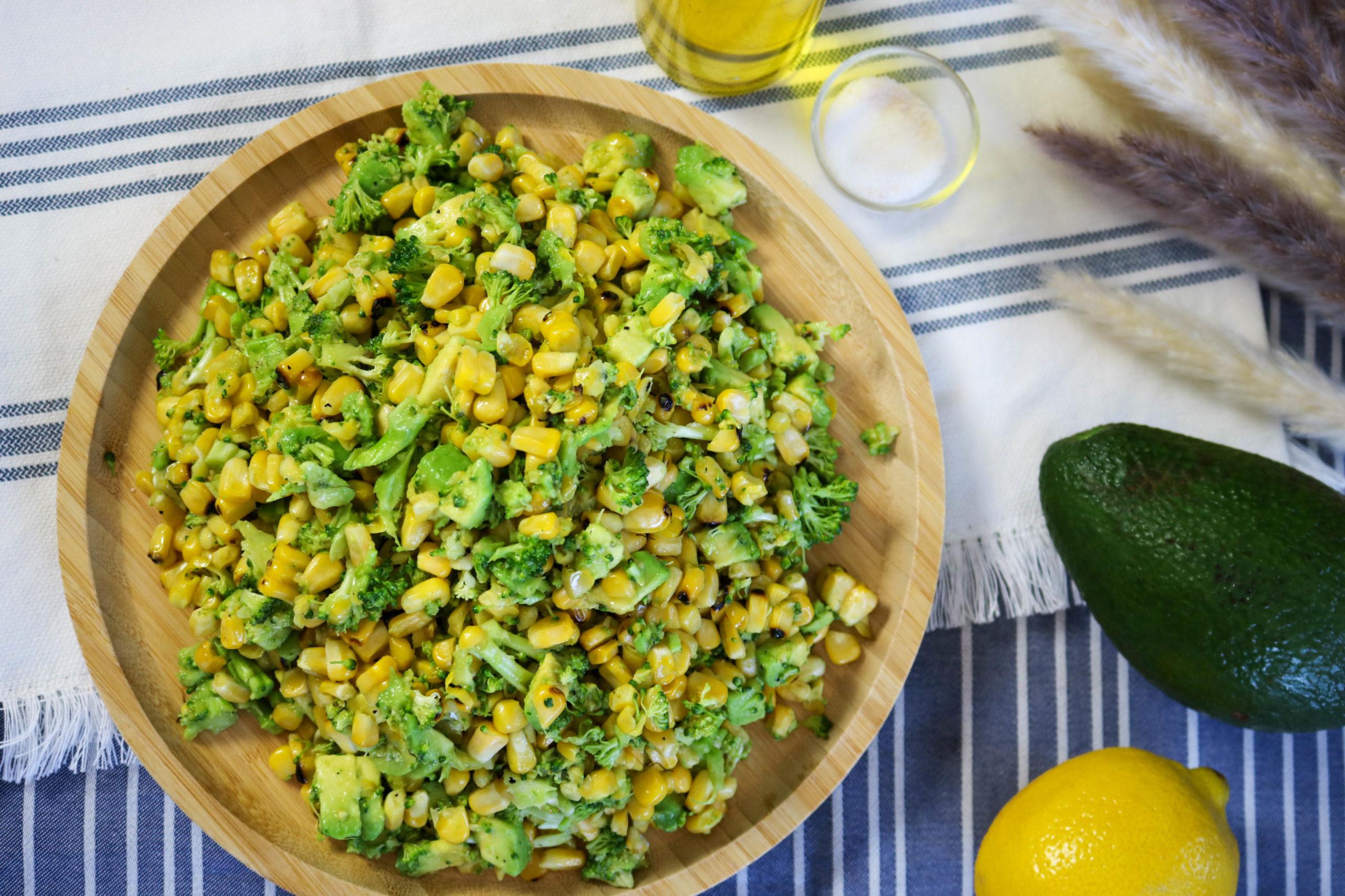 Healthy Corn Salad With Broccoli and Avocado