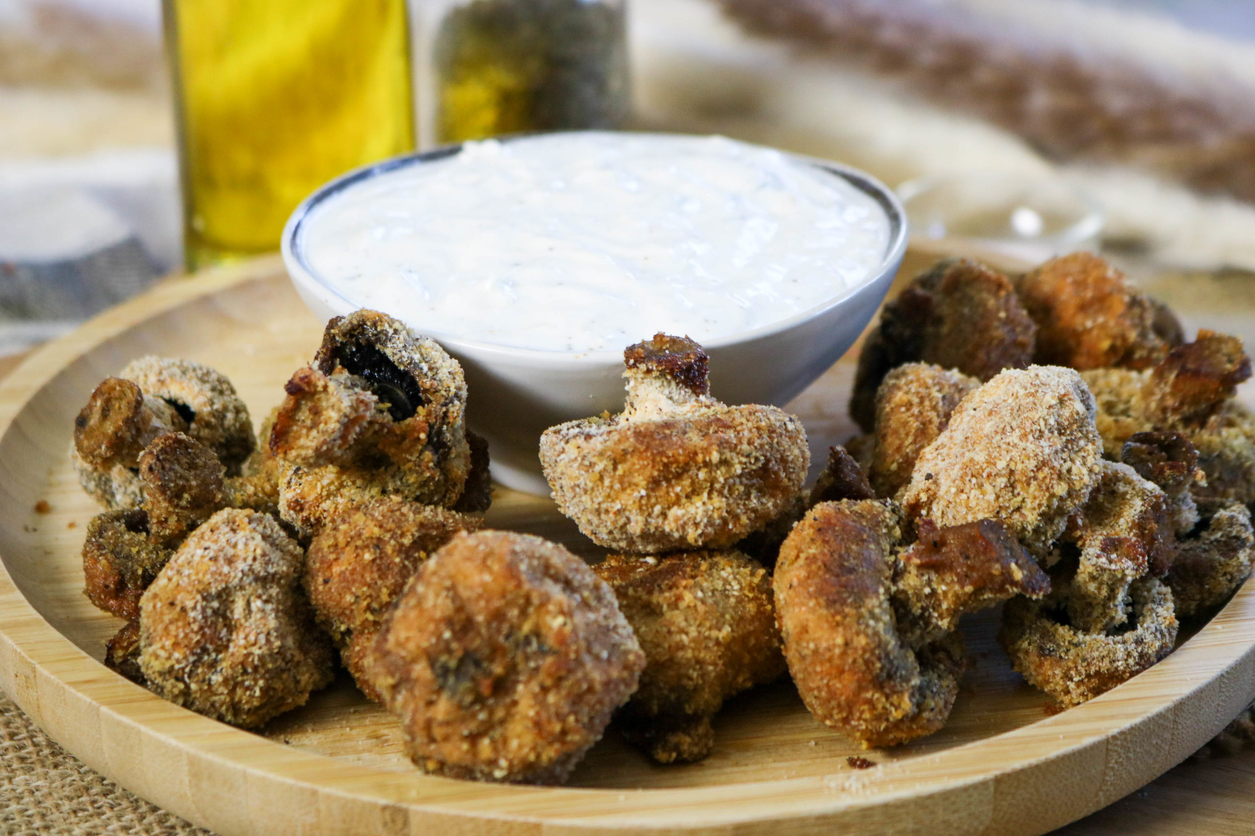 Oven Baked Mushroom Fries with Horseradish Sauce