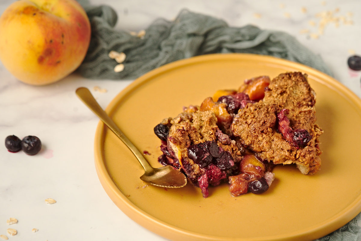 Peach Cobbler With Blueberry Biscuits